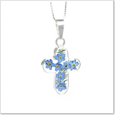 Remembrance Necklace, Forget Me Not Collection Cross (Optional Engraving) | Someone Remembered